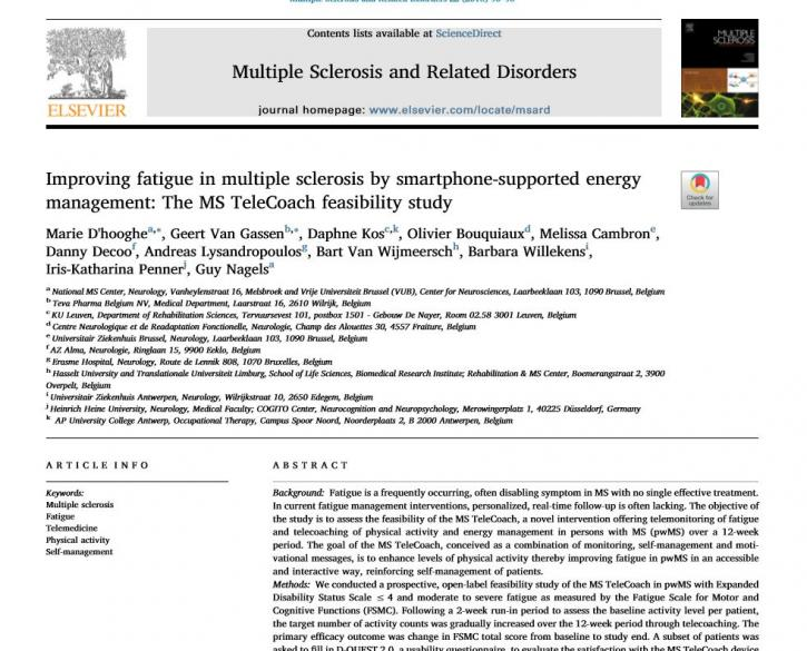 Artikel Improving Fatique in Multiple Sclerosis by Smartphone-supported Energy Management
